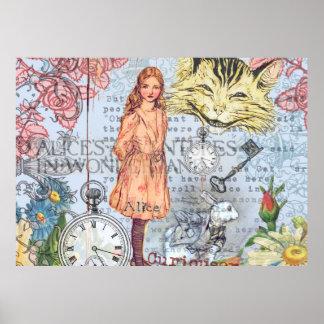 Katze und Kaninchen Alices Cheshire Poster
