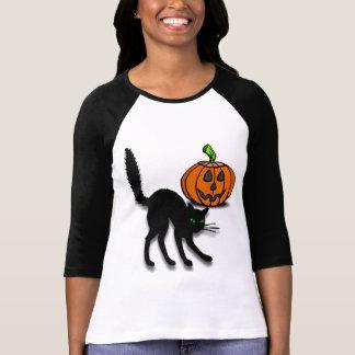 Katze und Kürbis T-Shirt