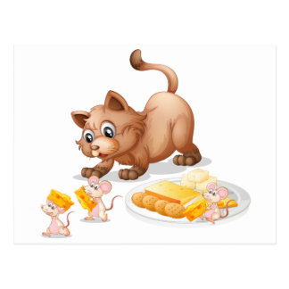 Katze und Mäuse Postkarte