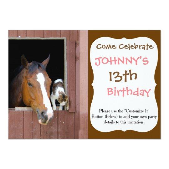 Katze und Pferd - Pferderanch - Pferdeliebhaber 12,7 X 17,8 Cm Einladungskarte