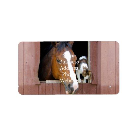 Katze und Pferd - Pferderanch - Pferdeliebhaber Adressaufkleber
