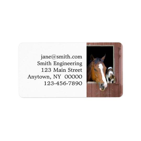 Katze und Pferd - Pferderanch - Pferdeliebhaber Adressetiketten