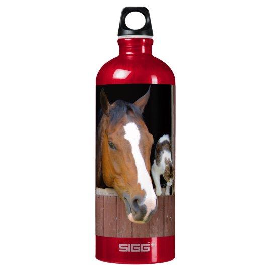 Katze und Pferd - Pferderanch - Pferdeliebhaber Aluminiumwasserflaschen