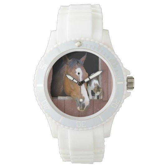 Katze und Pferd - Pferderanch - Pferdeliebhaber Armbanduhr