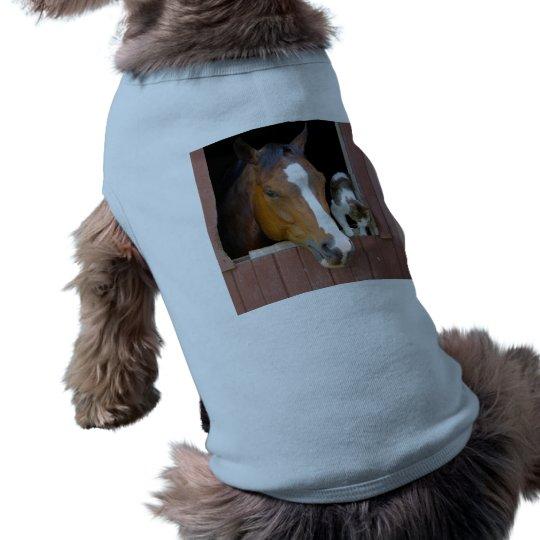 Katze und Pferd - Pferderanch - Pferdeliebhaber Ärmelfreies Hunde-Shirt