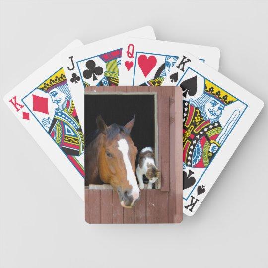 Katze und Pferd - Pferderanch - Pferdeliebhaber Bicycle Spielkarten