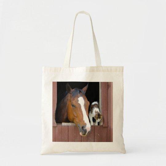 Katze und Pferd - Pferderanch - Pferdeliebhaber Budget Stoffbeutel