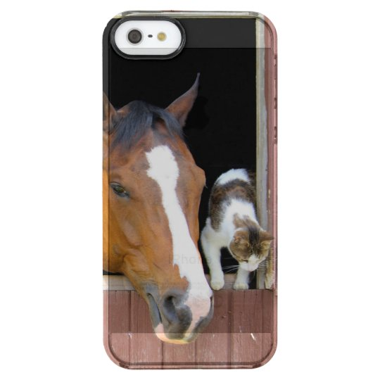 Katze und Pferd - Pferderanch - Pferdeliebhaber Durchsichtige iPhone SE/5/5s Hülle
