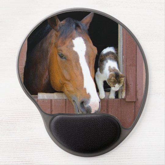 Katze und Pferd - Pferderanch - Pferdeliebhaber Gel Mousepad