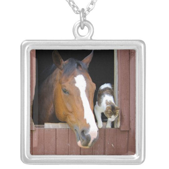 Katze und Pferd - Pferderanch - Pferdeliebhaber Halskette Mit Quadratischem Anhänger