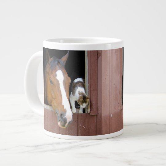 Katze und Pferd - Pferderanch - Pferdeliebhaber Jumbo-Mug