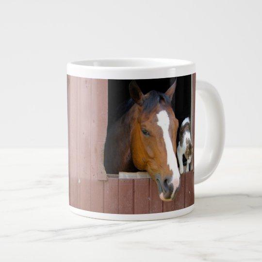Katze und Pferd - Pferderanch - Pferdeliebhaber Jumbo-Tasse
