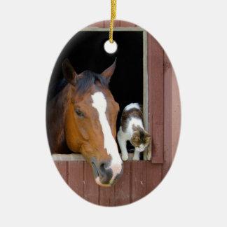 Katze und Pferd - Pferderanch - Pferdeliebhaber Keramik Ornament