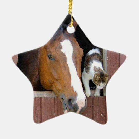 Katze und Pferd - Pferderanch - Pferdeliebhaber Keramik Stern-Ornament