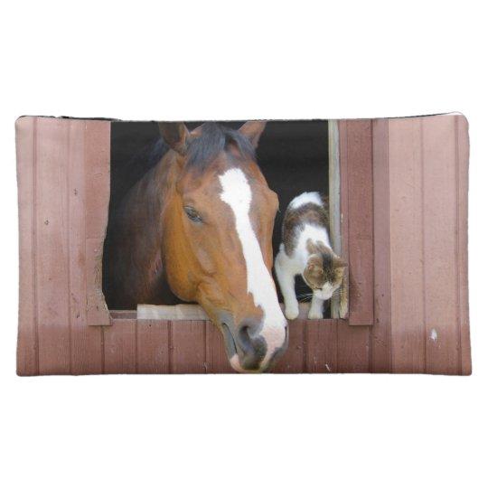 Katze und Pferd - Pferderanch - Pferdeliebhaber Kosmetiktasche