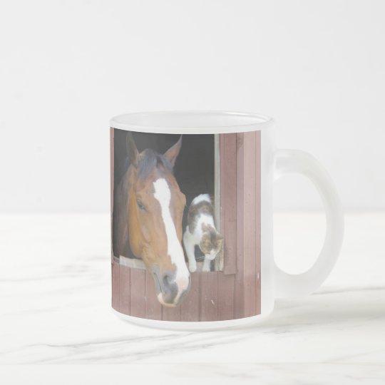 Katze und Pferd - Pferderanch - Pferdeliebhaber Matte Glastasse
