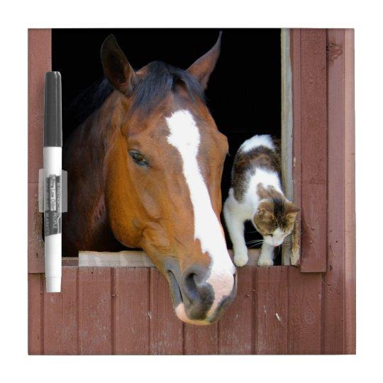Katze und Pferd - Pferderanch - Pferdeliebhaber Memoboard
