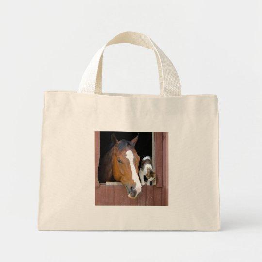 Katze und Pferd - Pferderanch - Pferdeliebhaber Mini Stoffbeutel