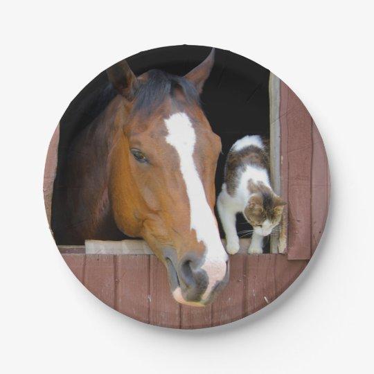 Katze und Pferd - Pferderanch - Pferdeliebhaber Pappteller