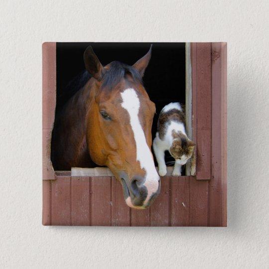 Katze und Pferd - Pferderanch - Pferdeliebhaber Quadratischer Button 5,1 Cm