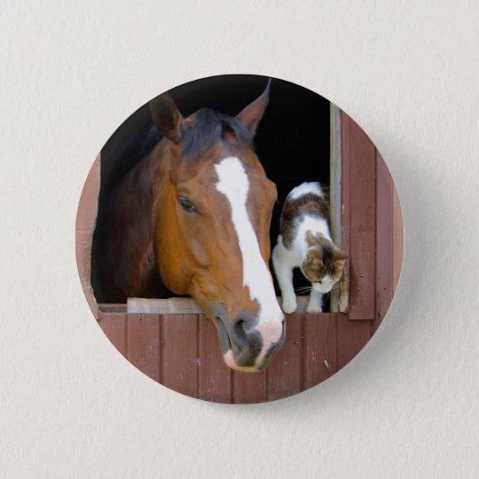Katze und Pferd - Pferderanch - Pferdeliebhaber Runder Button 5,1 Cm