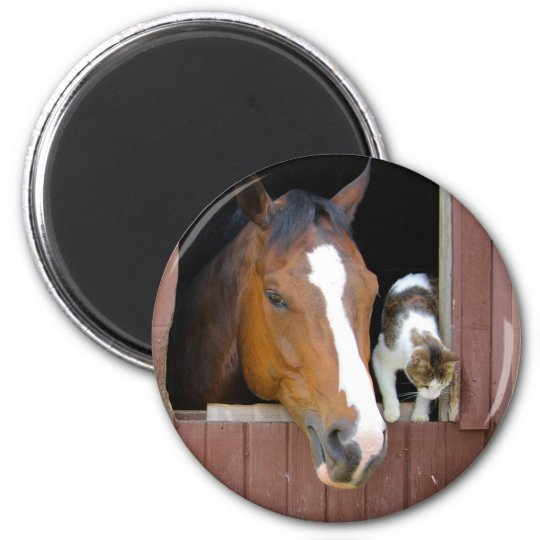 Katze und Pferd - Pferderanch - Pferdeliebhaber Runder Magnet 5,1 Cm
