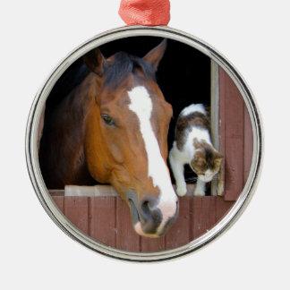 Katze und Pferd - Pferderanch - Pferdeliebhaber Rundes Silberfarbenes Ornament