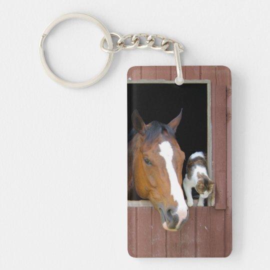 Katze und Pferd - Pferderanch - Pferdeliebhaber Schlüsselanhänger