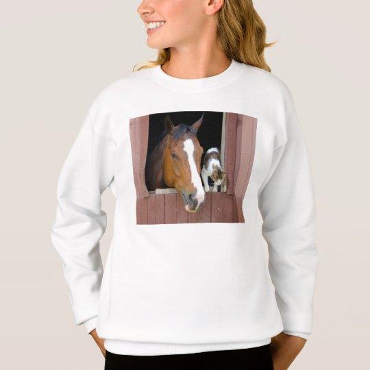 Katze und Pferd - Pferderanch - Pferdeliebhaber Sweatshirt