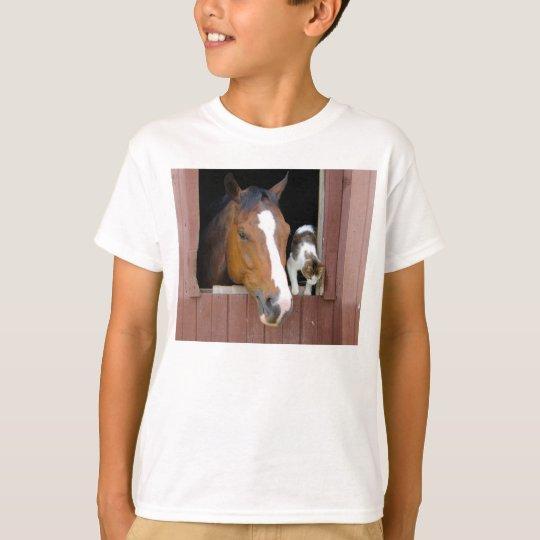 Katze und Pferd - Pferderanch - Pferdeliebhaber T-Shirt