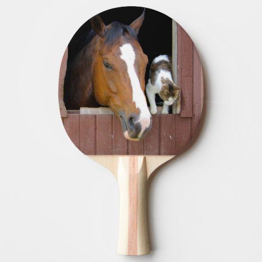 Katze und Pferd - Pferderanch - Pferdeliebhaber Tischtennis Schläger
