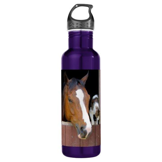 Katze und Pferd - Pferderanch - Pferdeliebhaber Trinkflasche