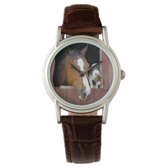 Katze und Pferd - Pferderanch - Pferdeliebhaber Uhr