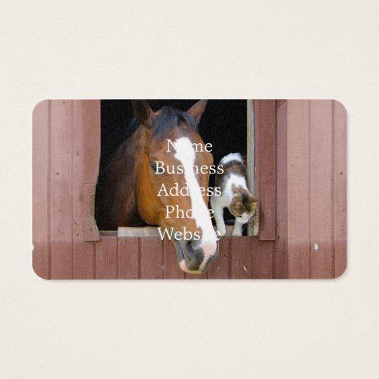 Katze und Pferd - Pferderanch - Pferdeliebhaber Visitenkarte