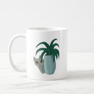 Katze und Pflanze Kaffeetasse