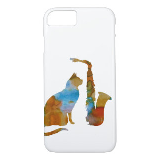 Katze und Saxophon iPhone 8/7 Hülle