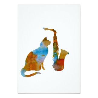 Katze und Saxophon Karte