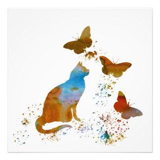 Katze und Schmetterlinge Fotodruck