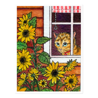 Katze und Sonnenblume Postkarte
