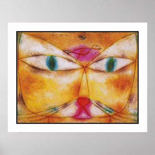 Katze und Vogel - abstrakter Kunst-Plakat-Druck
