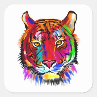 Katze vieler Farben Quadratischer Aufkleber