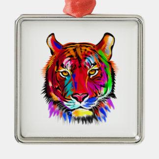 Katze vieler Farben Quadratisches Silberfarbenes Ornament