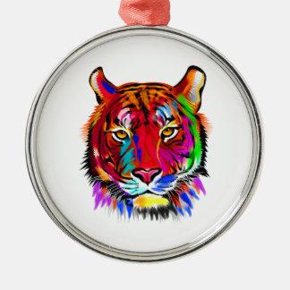 Katze vieler Farben Rundes Silberfarbenes Ornament