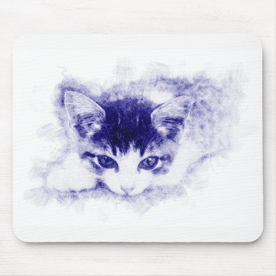 Katze, Zeichnung / Illustration. Pen, blau Mousepad