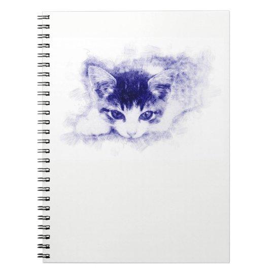 Katze, Zeichnung / Illustration. Pen, blau Spiral Notizblock