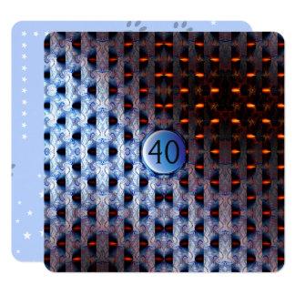 Katzen-Abdrücke mit blauem Muster Quadratische 13,3 Cm Einladungskarte