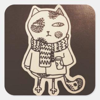 Katzen-Aufkleber Quadratischer Aufkleber
