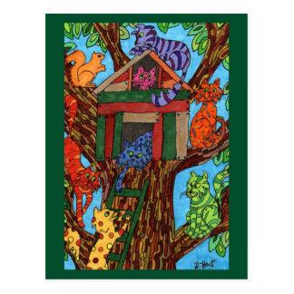 Katzen-Baum-Haus Postkarte
