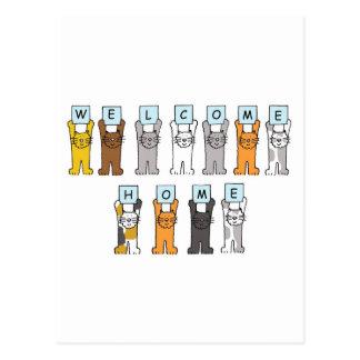 Katzen begrüßen Zuhausekarte Postkarte