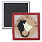 Katzen, Bücher, Leben ist süße v2 Quadratischer Magnet
